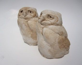 Owl Great Horned Baby Owl Detailed Small Sculpture Nature Gift