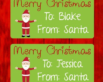 Personalized Merry Christmas From Santa - Christmas Present Tags Christmas Gift Labels - 001