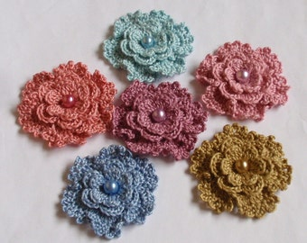6 Crochet Flowers With Pearls  YH-151-03
