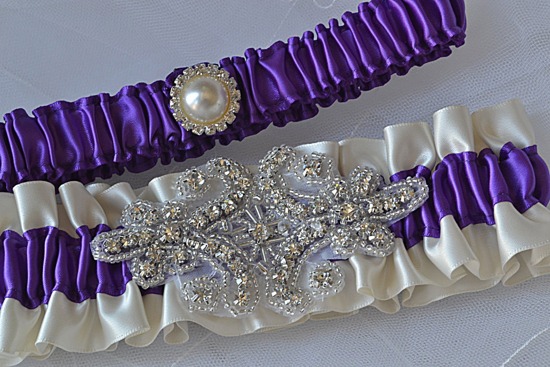Wedding Garter Set Purple And Ivory Garters With Crystal