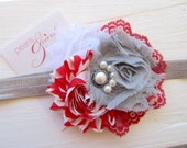 Red White and Gray Shabby Chic flower with Red Lace and Beaded Center / Red and White Flower / Red White and Gray Clip / Shabby Headband
