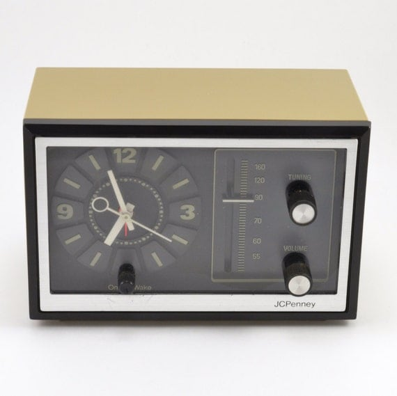 Vintage 70s jcpenney alarm clock radio by twoguysvintage for Cool nightstand clocks
