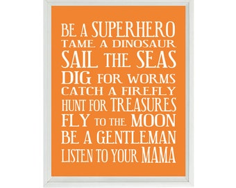 Boy Nursery Art - Orange White Subway Art - Typography - Toddler Baby Rules - Fun Modern Playroom Room Wall Art Print Poster