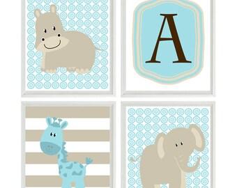 Nursery Wall Art - Elephant Giraffe Hippo - Initial Personalize - Aqua Tan Brown - Safari Wall Art Print Set   - Neutral Baby Wall Art