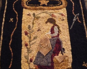 Primitive Rug Hooking Pattern on Linen 'Fancy Needlework'