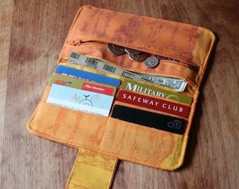 Womens Fold Over Wallet, Orange Sunset Cloth Wallet, Credit Card Holder, Checkbook Holder, Zippered Coin Wallet