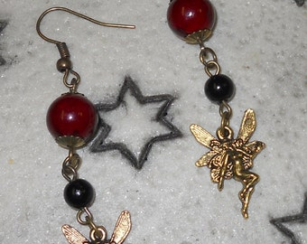 Antique Brass Fairy w/ Semi-precious stones Red and Black dangle earrings