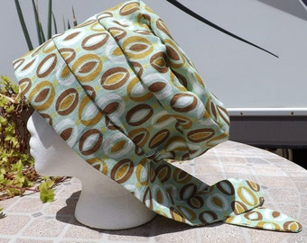 95 Light Green with Circles 100% Linen Pull On Snood Tichel Head Covering