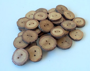 Wood Buttons - 30 Buttons - BlackJack Tree Branch Buttons - 1 2/5  -  2 inches in diameter - For Crafters - Knitting