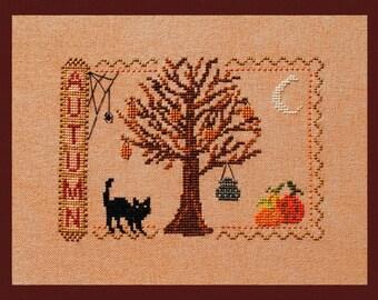 "Cross Stitch Instant Download ""Autumn"" Halloween-ish Pattern  Counted Embroidery Chart Cat Tree Pumpkins Fall Season Sampler X Stitch Design"