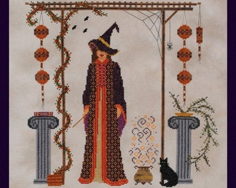 """Halloween Cross Stitch """"Something Wicked"""" Counted Embroidery Chart Witch Design Hallows Eve Pattern X Stitch October Autumn Home Decor"""