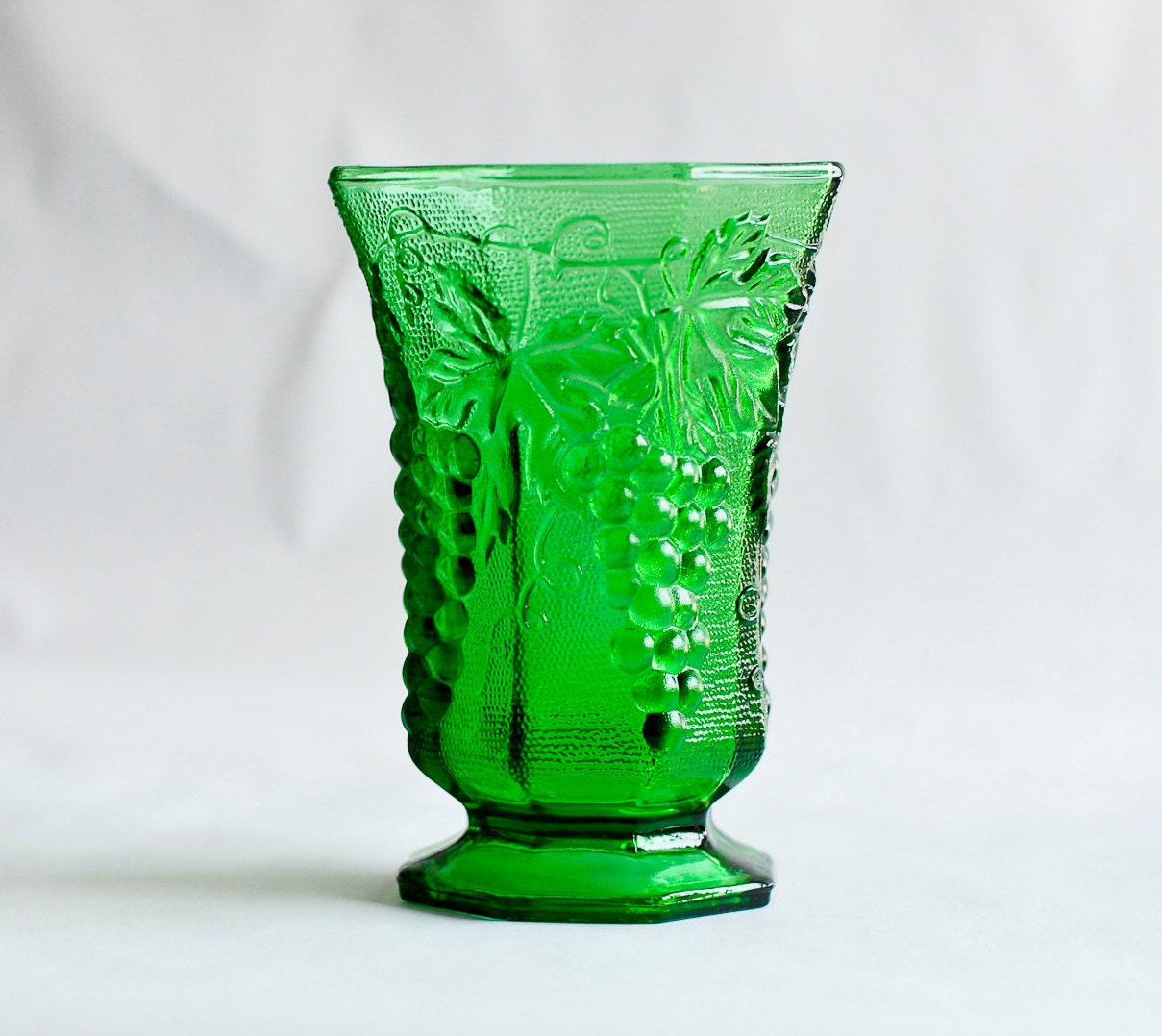 green glass vintage vase emerald olive glass grape pattern