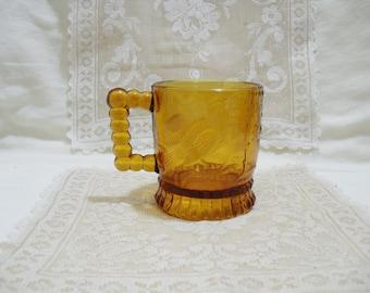 Early American Pattern Glass Amber Mug
