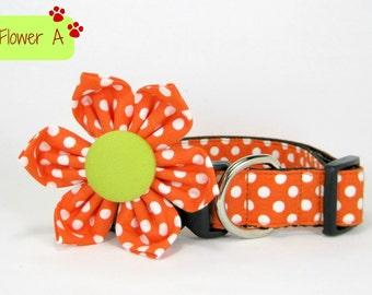 Dog Collar with Flower set- Orange Polka Dot  (Mini,X-Small,Small,Medium ,Large or X-Large Size)- Adjustable