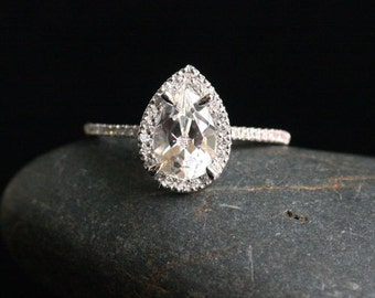 Pear White Topaz Engagement Ring White Topaz and Diamond Halo Ring in 14k White Gold with White Topaz Pear 9x6mm