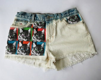 Vintage Tommy Hilfiger High Waist  Bleached and Distressed Denim Cut Off Cat Shorts