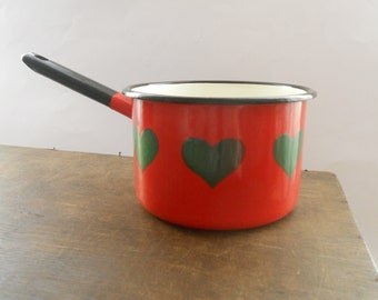 Vintage Small Enamel Pot Red Green Enamel pot Enamelware Handle Pot Mid century Kitchen
