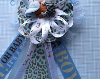 Baby Shower Leopard Prints Theme, Mom to Be Corsage, Dad to Be Corsage, Capia Corsage, Baby Shower Favors
