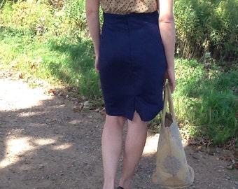 Vintage Navy Blue Pencil Skirt Size 9