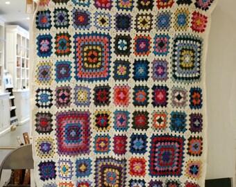 Crochet Granny Square Wool Blanket