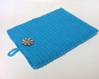Handcrafted Turquoise  Crochet Ipad Cover/Sleeve   OOAK