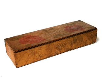 Antique Wood Glove Box Victorian Pyrography     Circa early 1900's