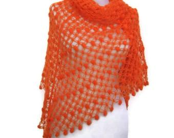 hand crocheted mohair orange shawl