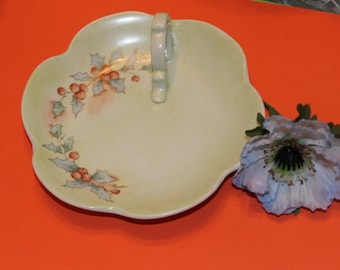 Victorian Christmas Lemon plate Nappy Dish with Ring Handle design of Holly and Berries hand painted Sighed