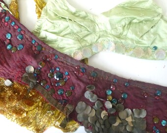 Antique Red and Green Burlesque Costume -- Satin and Gemstones -- Threadbare in Spots