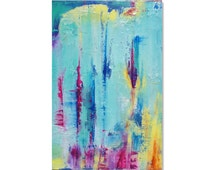 Colorful Abstract Art Textured Tie Dye Look Painting