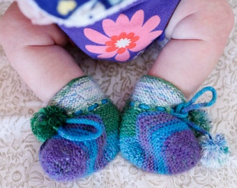 Handknitted Striped Baby Booties