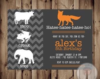 What Does the Fox Say Invitation, fox birthday invitation, what does the fox say birthday, printable birthday invite, 1044