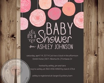BABY GIRL Baby Shower Invitation, baby shower invite, hanging flowers, flowers, baby girl, girl baby, 1012