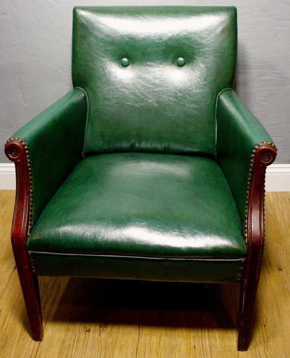 Vintage Accent Chair Green Vinyl Accent Chair With Wood Trim