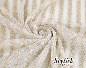 White Beige Stripes Sweater Knit Fabric - 1 Yard Style 6023