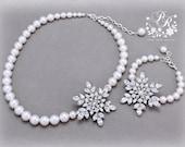 Wedding Necklace Bracelet set Swarovski Pearl Rhinestone Snowflake Necklace Bracelet set Wedding Jewelry Bridal Necklace Christmas Necklace