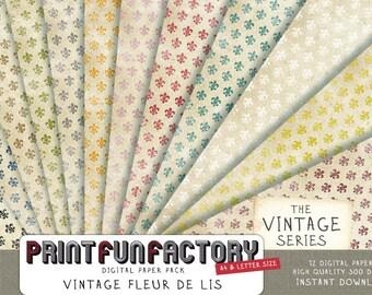 Fleur de lis digital paper - vintage look french flower pattern on old distressed paper background- 12 digital papers (088) INSTANT DOWNLOAD