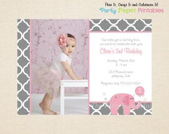 Pink Elephant Birthday Invitation, Pink & Grey - PRINTABLE, DIY by Party Paper Printables