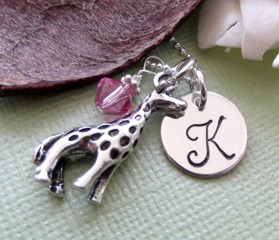 Giraffe Necklace with Initial Charm and Birthstone- Giraffe Charm Necklace- Personalized Children's Jewelry