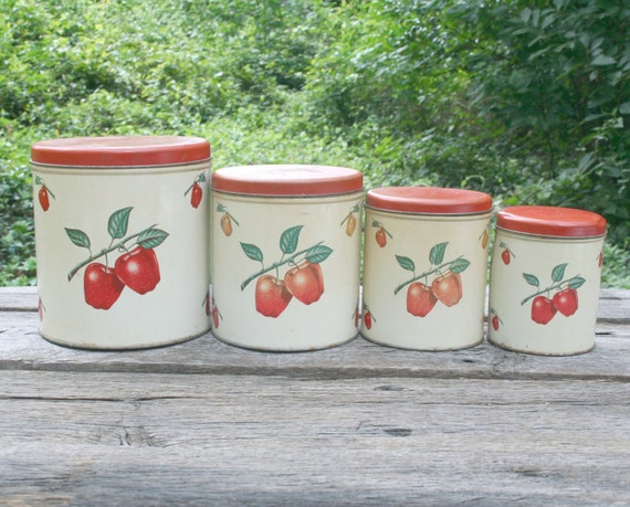 Vintage Apple Tin Nesting Canisters Set Red Kitchen Decor