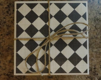 Checkered Tile Coasters...Set of 4..Gift