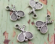 10 Antique Tibetan Silver Double Sized Tennis Charms 20x17mm