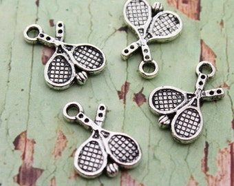 10 Antique Tibetan Silver Tone Double Sized Tennis Charms 20x17mm