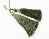 Long Khaki Green Silk Thread Tassels -  3 inches - 77mm  - 2 pc