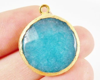 22mm Teal Faceted Jade Pendant - 22k Gold plated Bezel - 1pc -