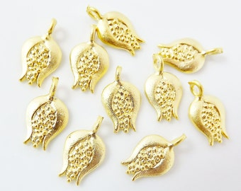 10 Mini Pomegranate Charms - TYPE 1 - 22K Matte Gold Plated - GCM123