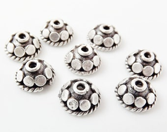 8 Mini Rustic Dotted Round Beadcaps - Matte Silver Plated