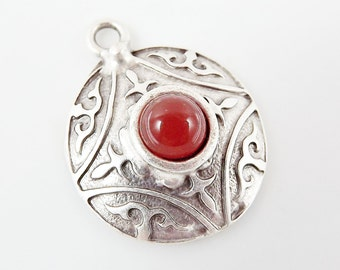 Round Dome Tribal Pendant with Pompeian Red Glass Accent - Matte Silver plated - 1pc