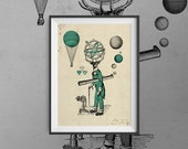 Deer Astronomer - A3 art print signed by the artist