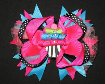"NEW ""ZEBRA CUPCAKE Tulle"" Hairbow Alligator Clip Girls Ribbon Hair Bows Birthday Party Boutique"